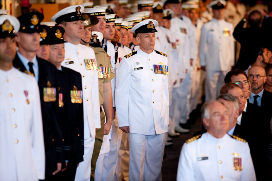 HMAS Canberra ship's company during the commissioning ceremony held onboard HMAS Canberra in Sydney (ABIS Kayla Hayes)