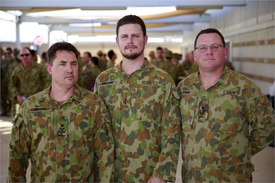 The three Royal Australian Navy members who deployed with Force Communications Element 1.