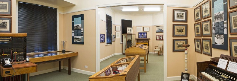 Interior of the HMAS Creswell Museum.