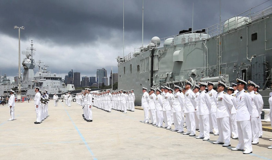 HMAS Sydney Ships company during the Decommissioning of HMAS Sydney at Garden Island, Sydney.