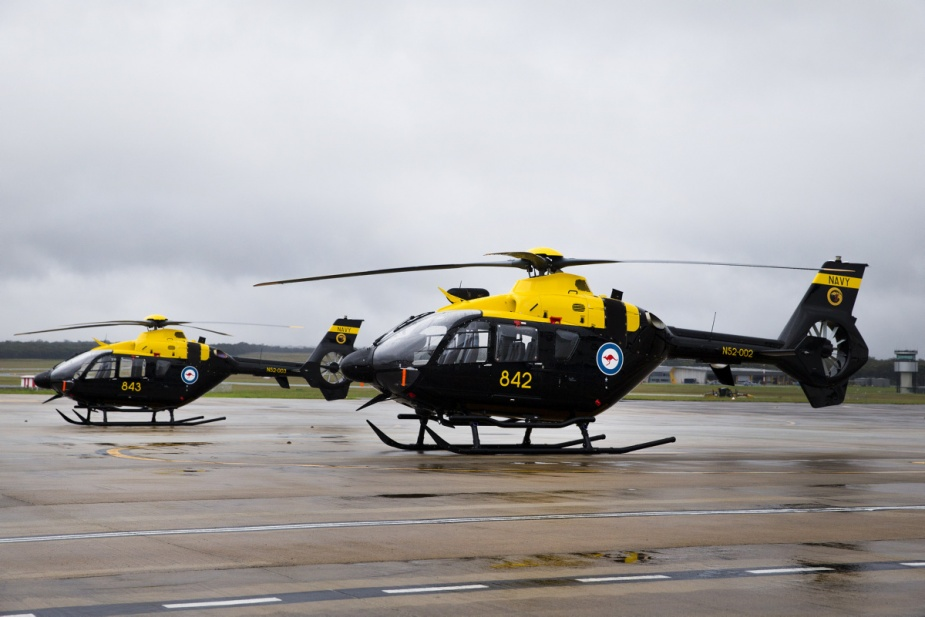 Airbus EC-135T2+ helicopters await their first trainees at the Joint Helicopter School at HMAS Albatross.