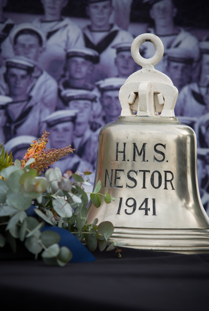Nestor's bell was placed on display on the occasion of the 75th anniversary of her sinking. In attendance were two survivors of the attack, Captain John Stephenson and Lieutenant Commander Ken Brown.