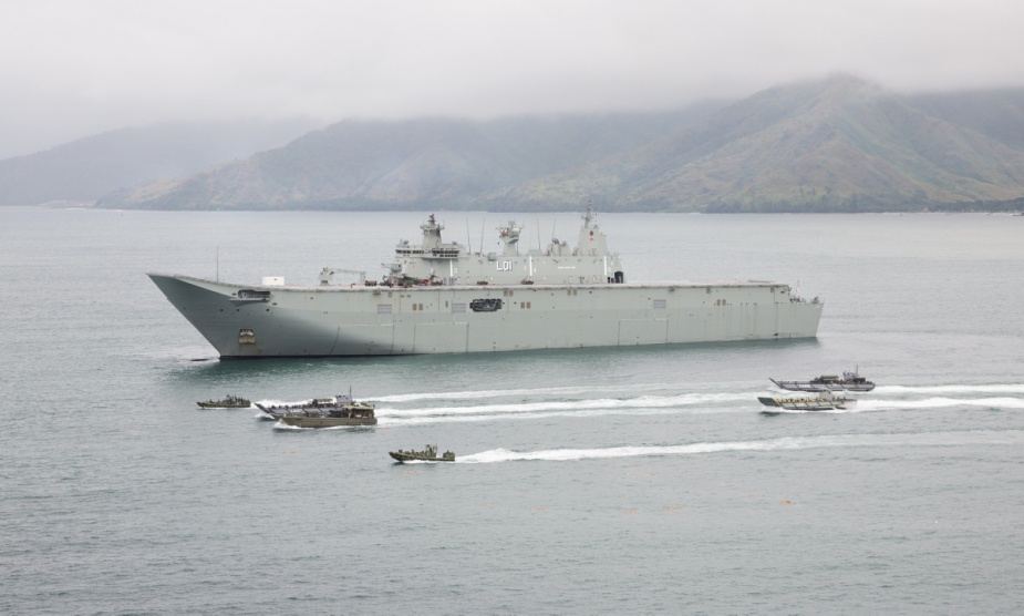 Landing craft from the RAN and Australian Army in formation with Philippine Marine Corps small unit riverine craft, during humanitarian assistance and disaster relief training conducted from HMAS Adelaide in Subic Bay, Philippines.