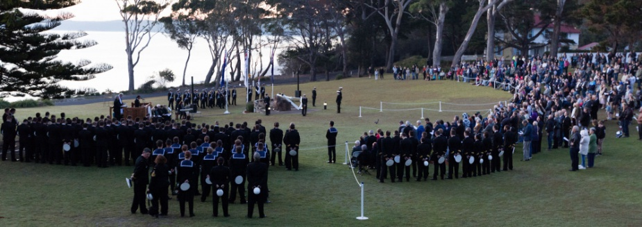 Crowds gather to pay their respects at the 2018 Anzac Day Dawn Service, HMAS Creswell, Jervis Bay.