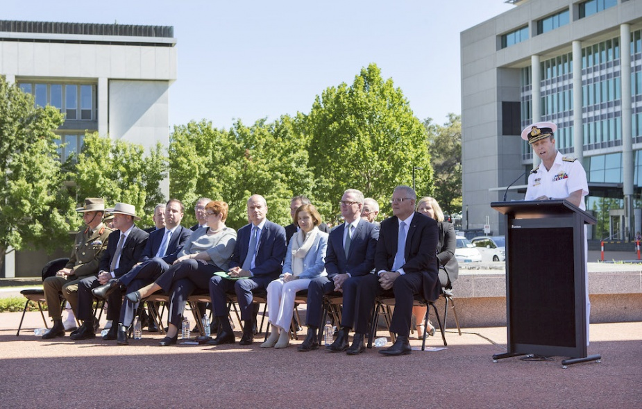 Chief of Navy, Vice Admiral Michael Noonan, AO, RAN (right), addresses the VIPs and attendees at the signing of the Strategic Partnering Agreement for the Future Submarine Program during a ceremony held at Russell Offices, Canberra.