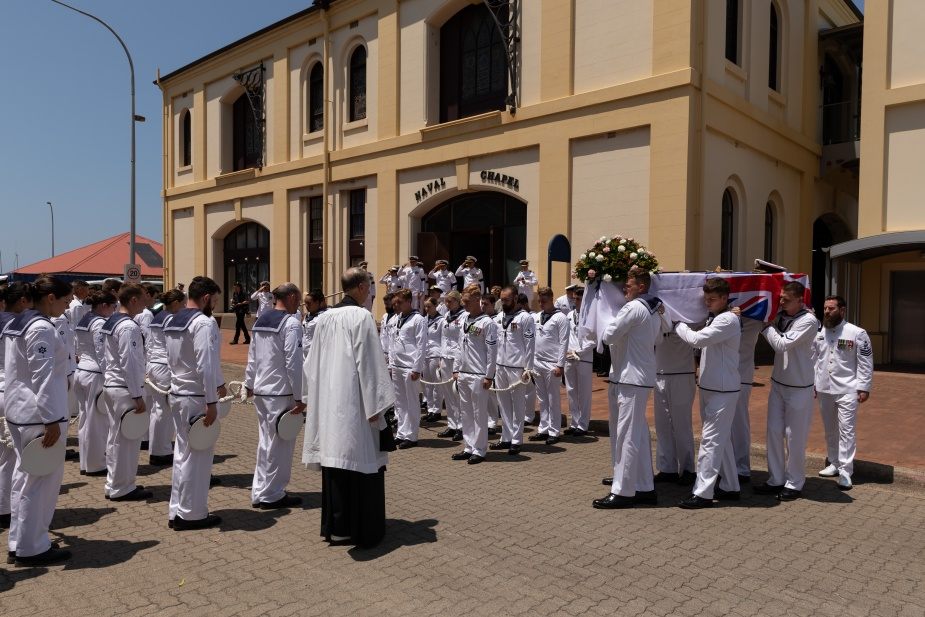 A funeral with full naval honours was held for Vice Admiral David Willoughby Leach AC, CBE, LVO, RAN (Ret'd) on Friday, 31 January 2020 at the Garden Island Chapel. Royal Australian Navy pallbearers carry the casket of the late Vice Admiral David Willoughby Leach AC, CBE, LVO, RAN (Rtd) from the Garden Island Chapel.