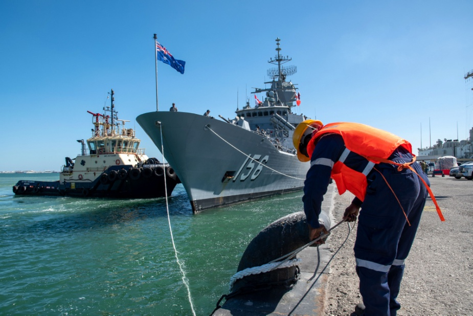 HMAS Toowoomba arrives in Bahrain as part of the ship's deployment to the Middle East region.