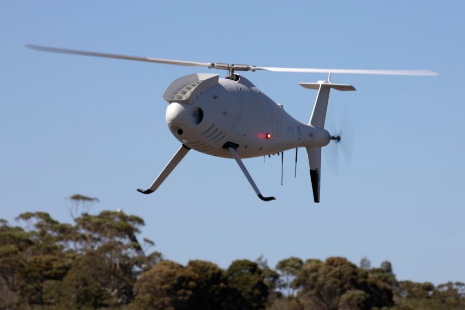 An 822X Squadron Schiebel S-100 Camcopter Unmanned Aircraft taking off from Jervis Bay airfield.