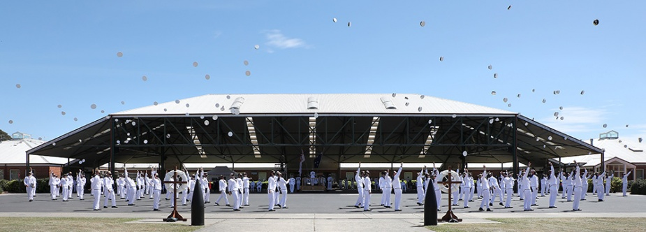 General Entry 386 Shipp Division celebrate on completion of their Graduation Ceremony held at Recruit School of HMAS Cerberus, Victoria.