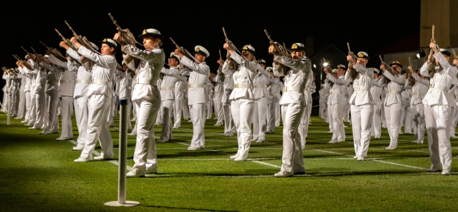 Royal Australian Navy New Entry Officers from Course 63 during a Ceremonial Sunset Parade at HMAS Creswell, Jervis Bay, November 2020.