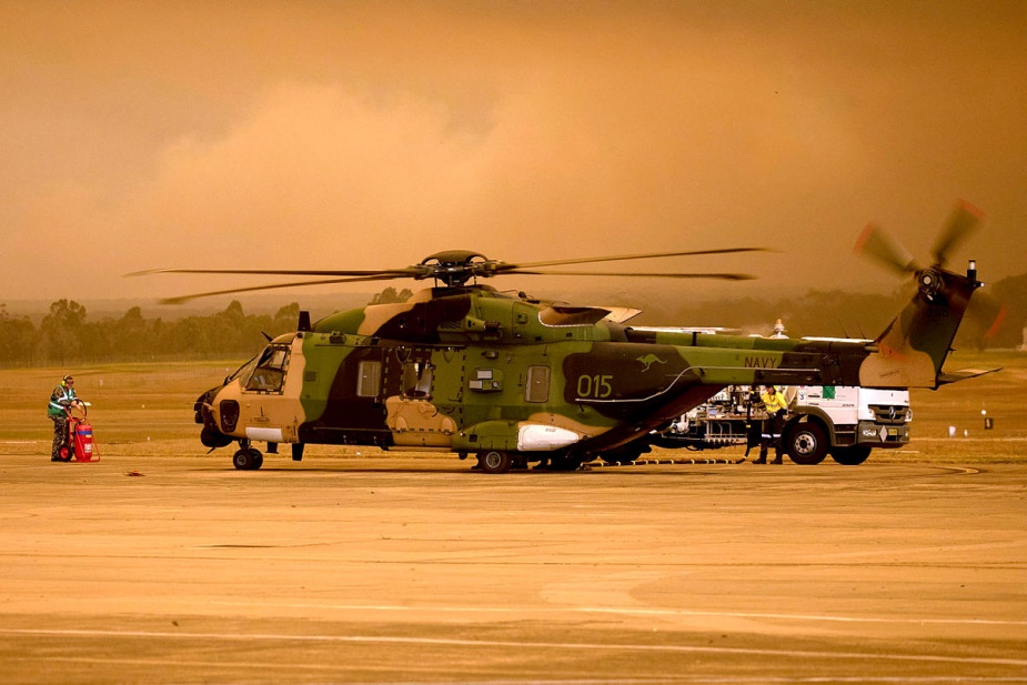 An MRH-90 Taipan Military Support Helicopter on the 808 Squadron Flight line at HMAS Albatross, Nowra. Image: CPOIS Kelvin Hockey.