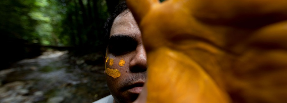 Navy's Indigenous Development Program recruit Clayton Anderson dons elements of traditional Aboriginal body paint during the program's cultural retreat at Northern Outlook in Cairns, Queensland. Image by LSIS Shane Cameron.