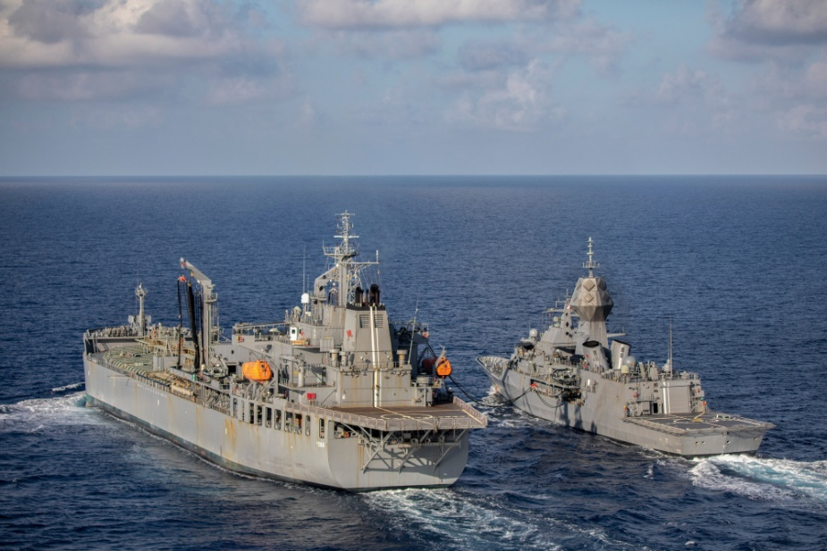 HMAS Anzac conducts a replenishment at sea with HMAS Sirius in the South China Sea.