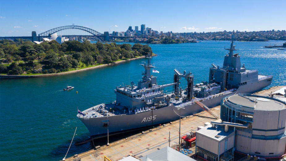 An aerial view of HMAS Supply's commissioning ceremony at Fleet Base East in Sydney, New South Wales.