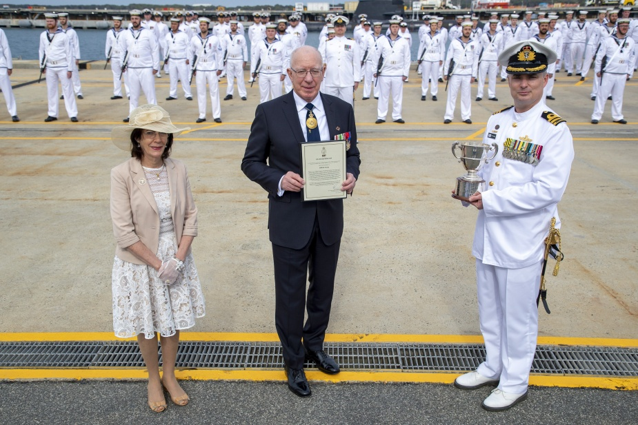 Her Excellency Mrs Linda Hurley and The Governor General of Australia, His Excellency General the Honourable David Hurley AC DSC (Retd) present the 2020 Duke of Gloucester Cup to HMAS Arunta Commanding Officer, Commander Anthony Nagle, CSC at Fleet Base West in Western Australia.