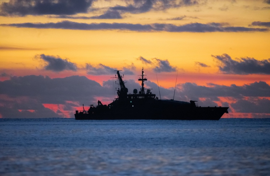Royal Australian Navy patrol boat HMAS Launceston sails off the coast of Christmas Island while she conducts border protection as part of Operation RESOLUTE.