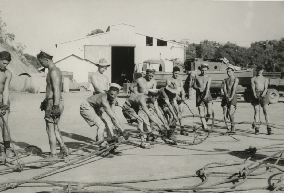 RAN personnel at work on the boom net