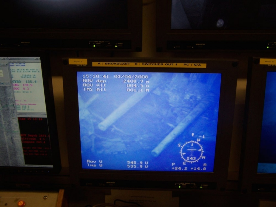 The view from the ROV operator's control room when the first glimpse of HMAS Sydney (II) was relayed back to Geosounder from the ROV. Seen here for the first time in 66 years was Sydney's  'X' turret.