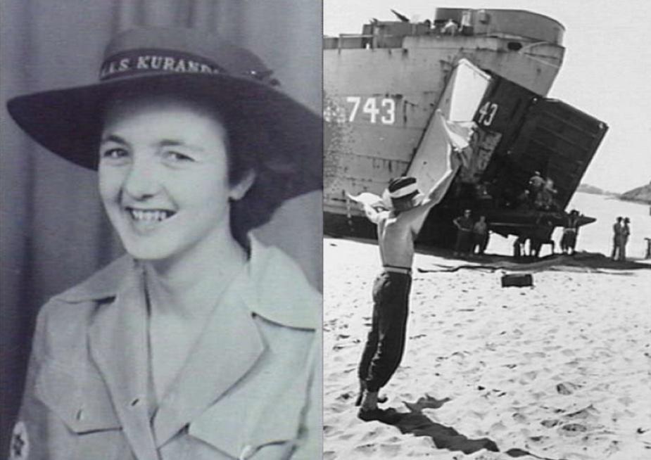 Left, Marion Walsh, WRAN. (AWM P00299.001) Right: Trinity Beach, an RAN signalman during an amphibious landing training exercise. (AWM 081461)