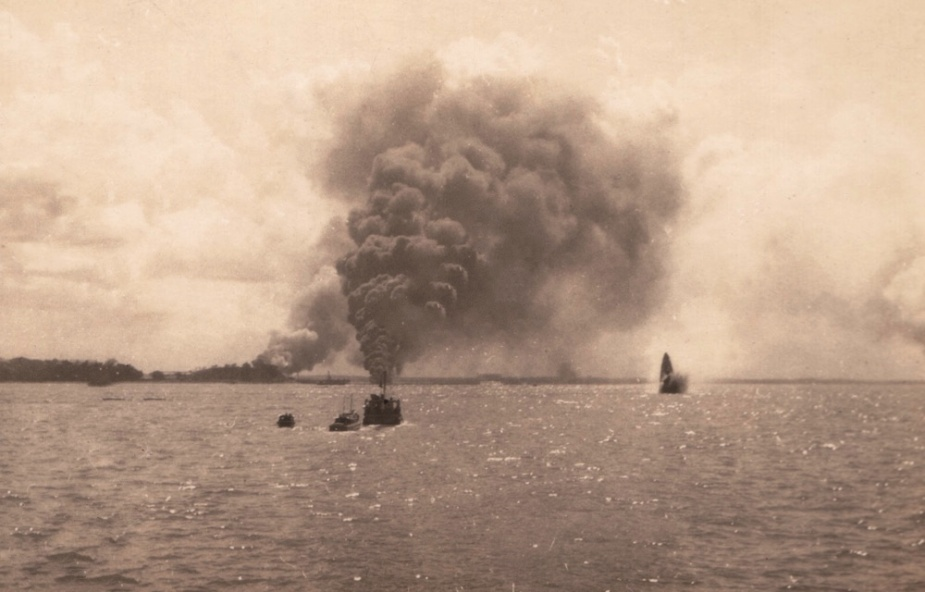 The view of Darwin Harbour amid the 19 February 1942 attack.