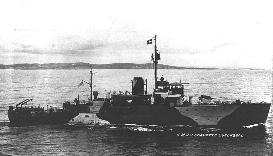 HMAS Bundaberg wearing her wartime disruptive pattern camoflauge paint