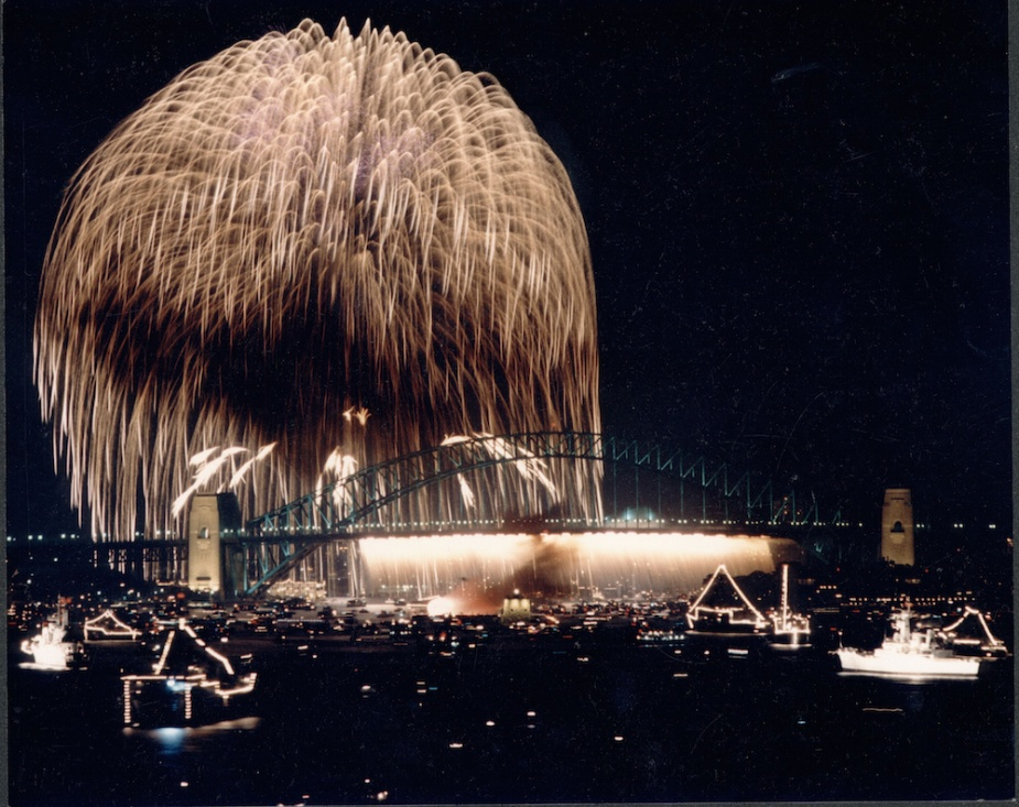 The fireworks finale dwarfs the Sydney Harbour Bridge during the 75th Anniversary Fleet Review in 1986.