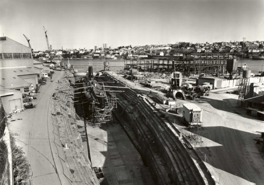 Oxley in Fitzroy Dock at Cockatoo Island in February 1970.