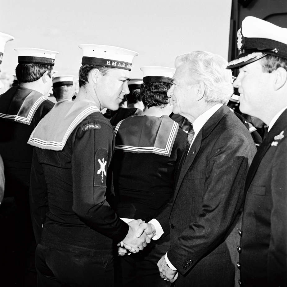 Prime Minister Robert J Hawke was onboard HMAS Adelaide to farewell the crew before they departed for Operation Damask I