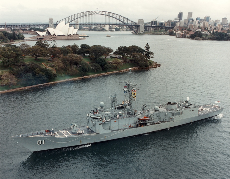 HMAS Adelaide berthing at Fleet Base East