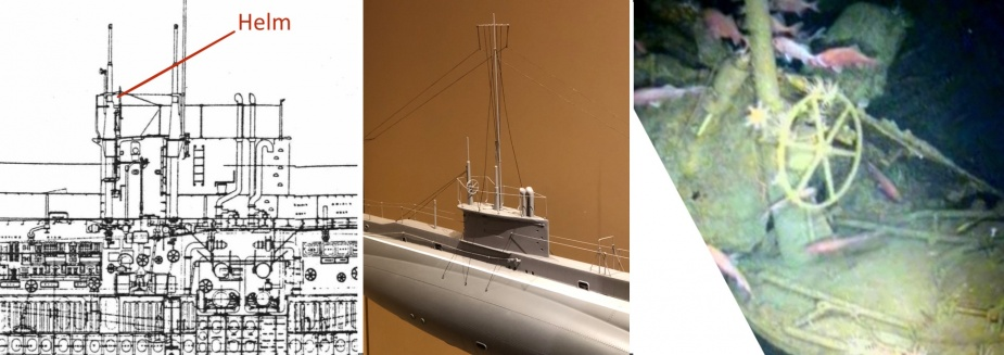 AE1's helm, mounted on the top of her conning tower, as viewed on her general arrangement plan and on the wreck.