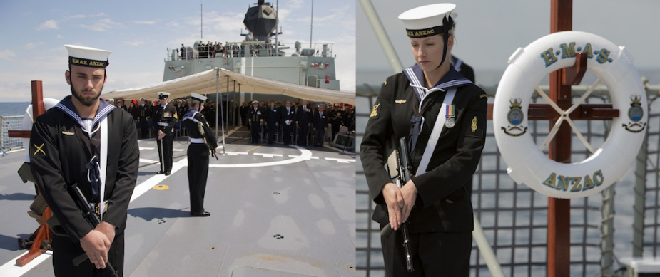 Seaman Electronic Technician Joshua Nowland (left) and Able Seaman Boatswains Mate Jessie Gaudry (right) take their post as members of the catafalque party onboard HMAS Anzac as the ship commemorates the loss of HMAS AE2 in the Sea of Marmara, in 1915