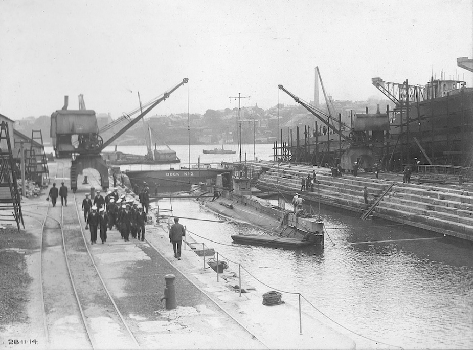 AE2 in Fitzroy Dock, Cockatoo Island, following her deployment as part of the ANMEF