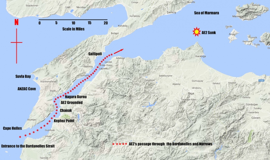 The track of AE2 through the Dardanelles and into the Sea of Marmara (Marmora)where she was later lost