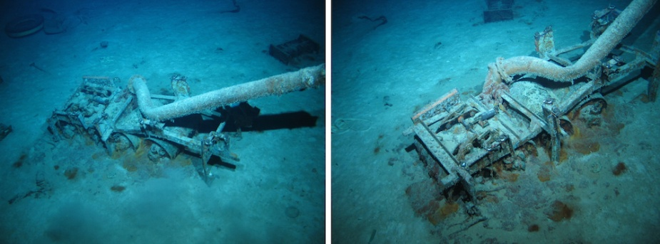 Sydney's depth charge rack with charges still in place lying inverted in the debris field astern of the main wreck