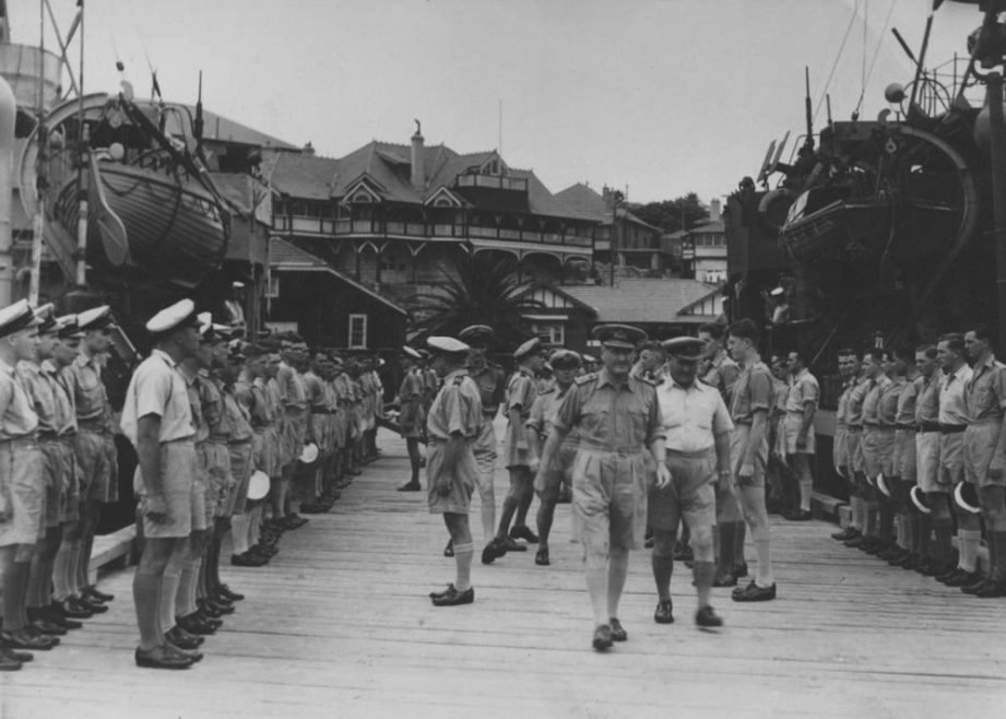 Admiral Sir Bruce Fraser, GCB, KBE, RN inspects men of the 2nd Minesweeping Flotilla in Watsons Bay, Sydney, November 1944.