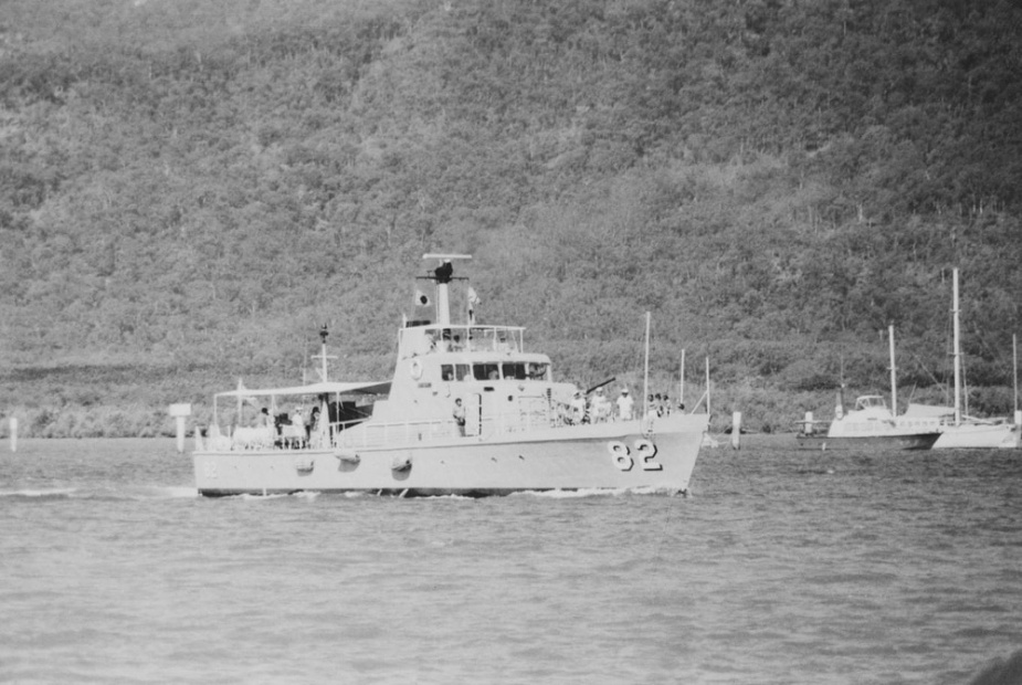 HMAS Adroit proceeds alongside on completion of a routine patrol.