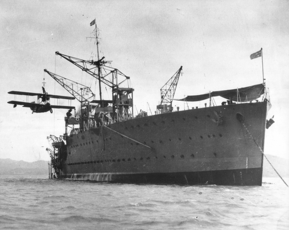 HMAS Albatross lowering one of her Sea Gull III's onto the water