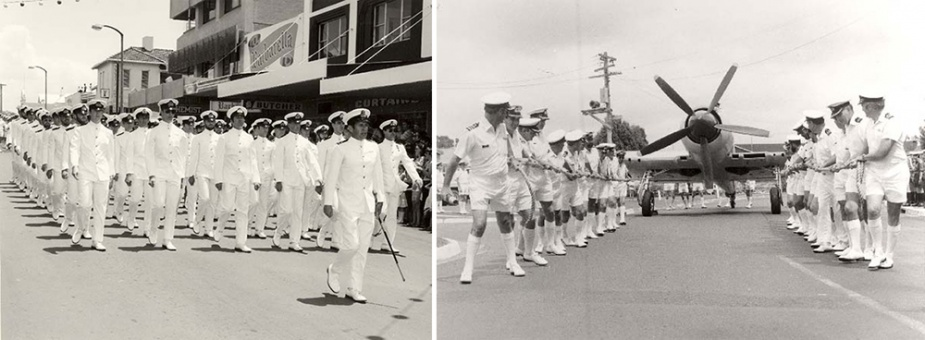 Left: LCDR Terry Ford leads Officers Divisions at the Freedom of Entry parade on Junction Street, Nowra 1979.  Right: HMAS Albatross' Commanding Officer, CDRE George Jude, gets 'rowed' ashore in a Sea Fury upon his retirement in 1980.