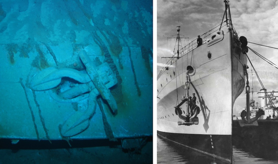 Sydney's port anchor clearly visible on the bow section of her wreck. Right: A fine view of Sydney's bow with both of her distinctive anchors in plain view.