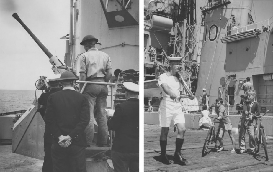 Left: Sailors from HMAS Anzac conducting Bofor training during workups, circa 1951. Right: An HMAS Anzac wharf sentry attracts some inquisitive onlookers.