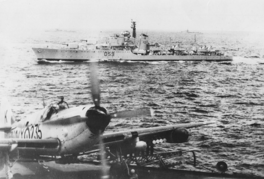 Anzac in Korean waters as seen from the flight deck of HMAS Sydney (III).