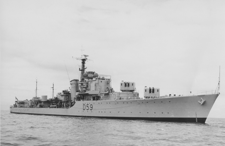 With her forward turrets trained to starboard HMAS Anzac (II) made a menacing sight when this photograph was taken in March 1951.