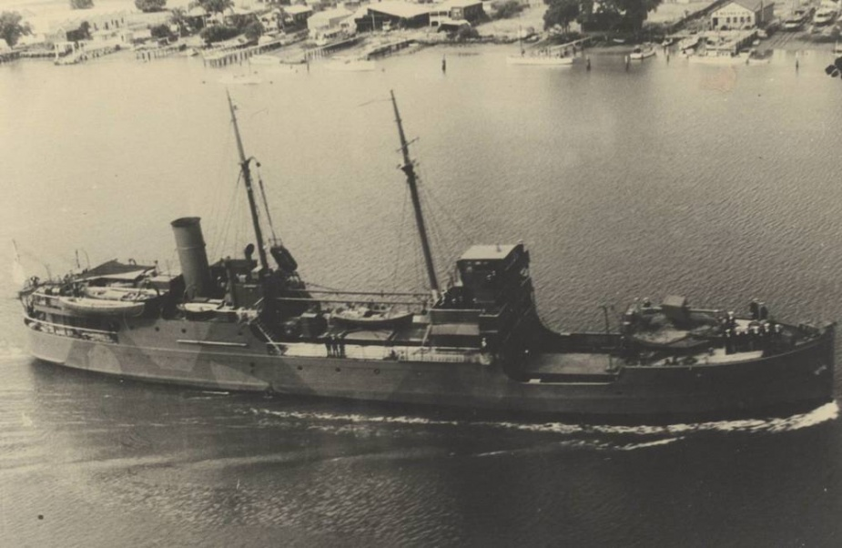HMAS Kybra with her wartime camouflage paint scheme faintly visible.