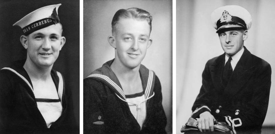 From left: Ordinary Seaman Frederick Francis Smith, Ordinary Seaman Colin Frederick Madigan and Lieutenant Lloyd Palmer, RANR.