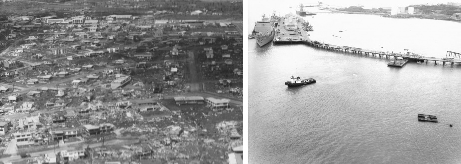 Left: Darwin in the aftermath of Cyclone Tracy. Right: The pontoon and tug used to remove Arrow from the seabed under Stokes Hill Wharf and tow her to Frances Bay.