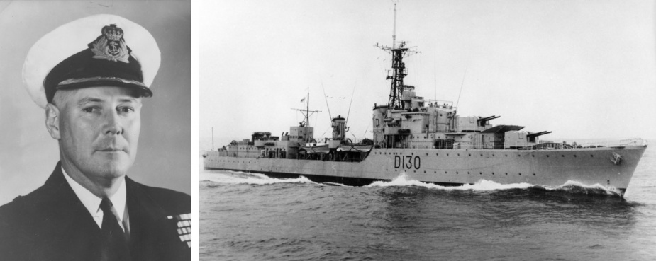 Left: Commander JM Ramsay, RAN, was appointed captain of HMAS Arunta following her recommissioning in November 1952. Right: After recommissioning in 1952, HMAS Arunta had her pennant number changed to D130 and was reclassified as an anti-submarine destroyer.