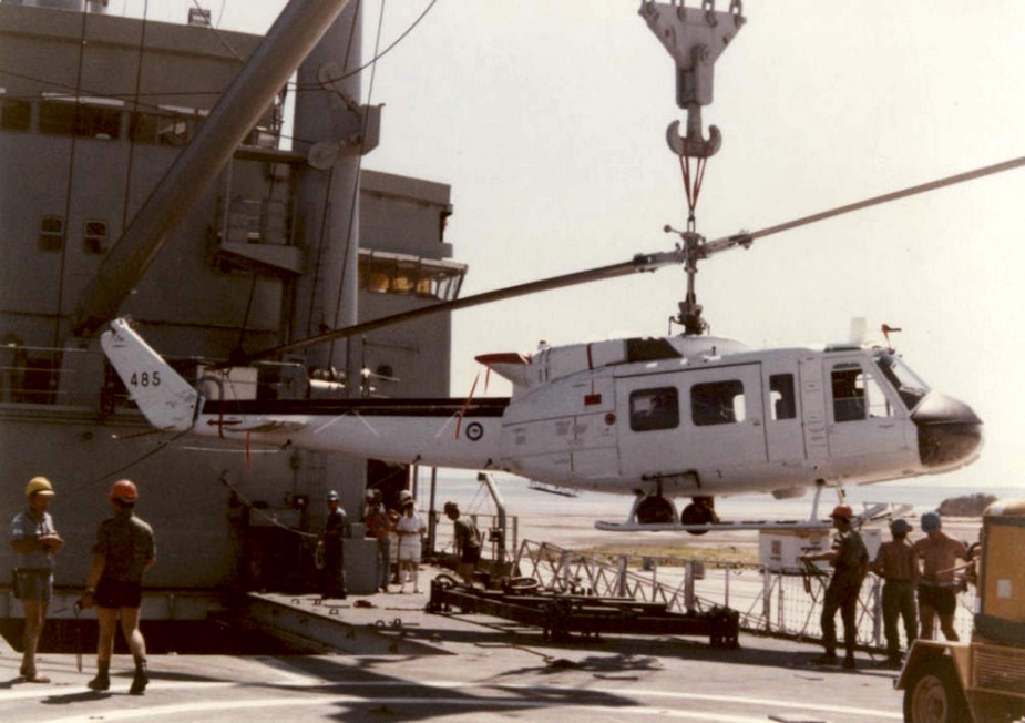 An RAAF Iroquois in its United Nations livery being unloaded at Ashdod.
