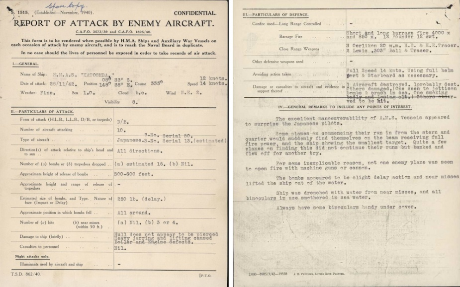 Enemy Aircraft attack report from 28 November 1942, when HMAS Katoomba and HMAS Ballarat were attacked by 10 Japanese dive bombers.