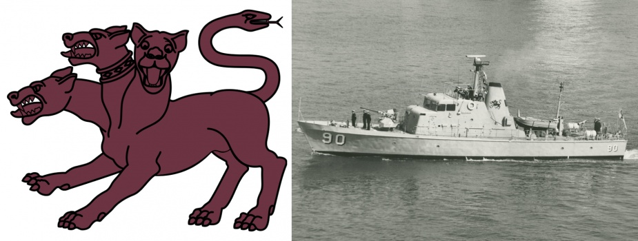 HMAS Attack displaying the mythical three headed dog on her funnel.