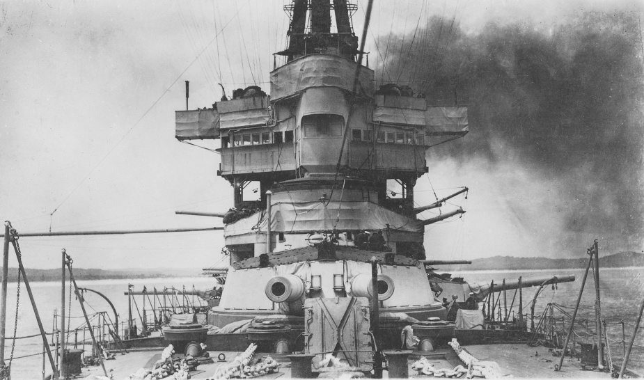 Australia's foc'sle and forward superstructure. Maintaining the battle-cruiser was a full-time job for her seamen.